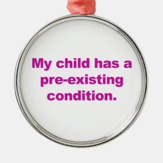 Ornement Rond Argenté Mon enfant a une condition préexistante