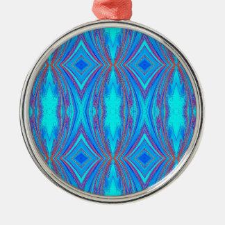 Ornement Rond Argenté Motif bleu-clair de diamants de turquoise