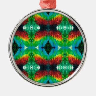 Ornement Rond Argenté Motif coloré de plumes de perroquet