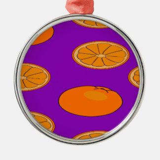 Ornement Rond Argenté Motif orange de fruit