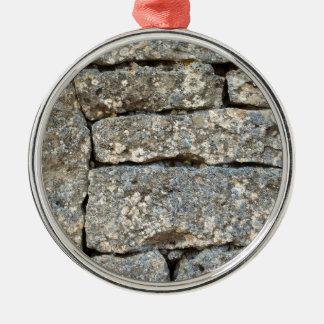 Ornement Rond Argenté Mur de briques en pierre