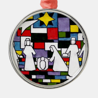 Ornement Rond Argenté Nativité de Mondrian - de Stijl - Neoplasticism
