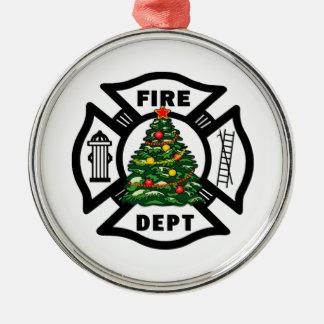 Ornement Rond Argenté Noël de sapeur-pompier