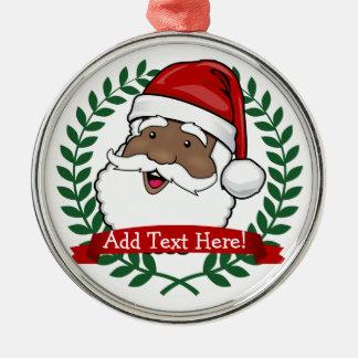 Ornement Rond Argenté Noël fait sur commande ethnique gai des textes de