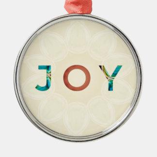 Ornement Rond Argenté Noël moderne 'Joy d'arrière - plan crème