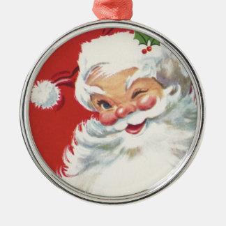 Ornement Rond Argenté Noël vintage, le père noël clignotant gai
