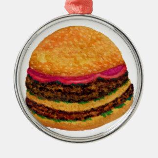 Ornement Rond Argenté Nourriture 3 d'hamburger