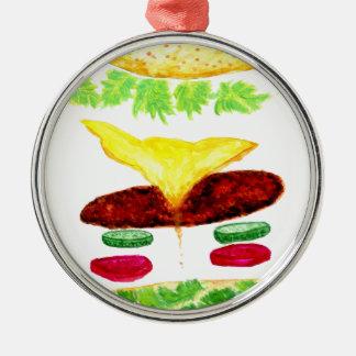 Ornement Rond Argenté Nourriture d'hamburger