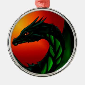 Ornement Rond Argenté Oeil du dragon