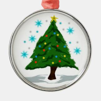 Ornement Rond Argenté Oh arbre de Noël