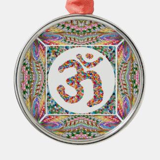 Ornement Rond Argenté Paix d'Indien de yoga d'hindouisme d'OmMantra