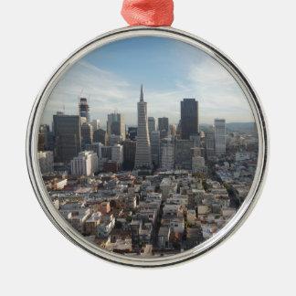 Ornement Rond Argenté Panorama d'horizon de San Francisco
