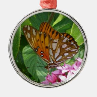 Ornement Rond Argenté Papillon de passiflore