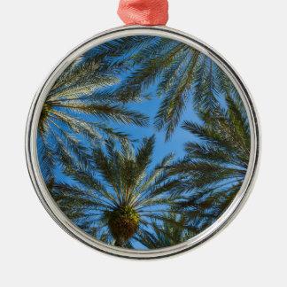 Ornement Rond Argenté Parapluie de palmiers