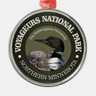 Ornement Rond Argenté Parc national de Voyageurs (dingue)