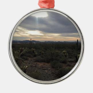 Ornement Rond Argenté Paysage de l'Arizona