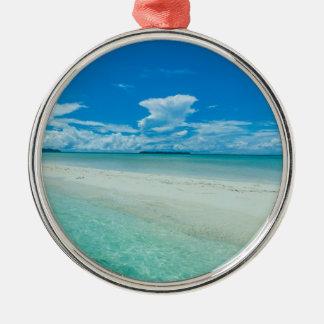 Ornement Rond Argenté Paysage marin tropical bleu, Palaos