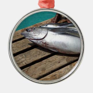 Ornement Rond Argenté pêche sportive