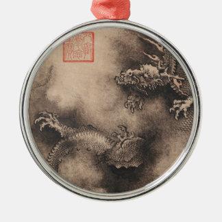 Ornement Rond Argenté Peinture chinoise pendant l'année de dragon