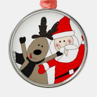 Ornement Rond Argenté Père Noël gai et renne #1
