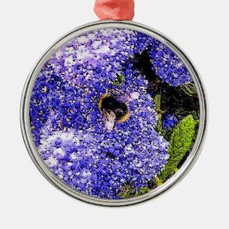 Ornement Rond Argenté Photo d'abeille de fleur de Ceanothus