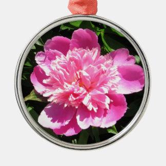 Ornement Rond Argenté Pivoine rose