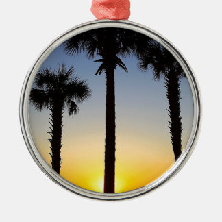 Ornement Rond Argenté Plage de ciel de palmier d'aube d'aube de lever de
