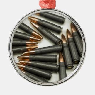 Ornement Rond Argenté point creux des munitions 7.62x39mm de munitions