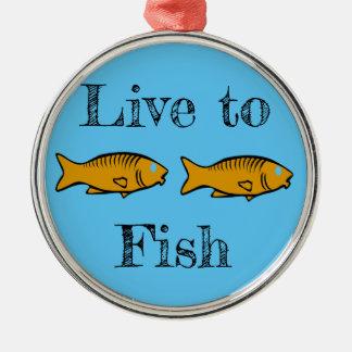 Ornement Rond Argenté poissons nageant