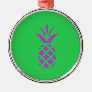 Ornement Rond Argenté Pomme pourpre de pin en vert