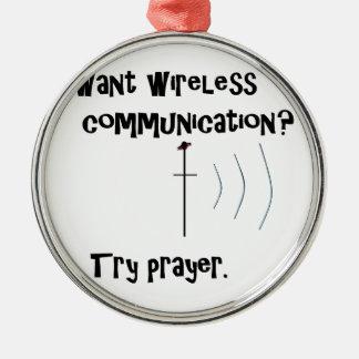 Ornement Rond Argenté Prière sans fil de communication