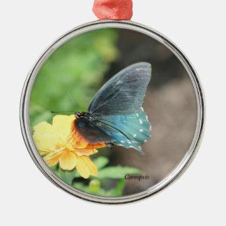 Ornement Rond Argenté Produits bleus d'été de Coreopsis de jaune de