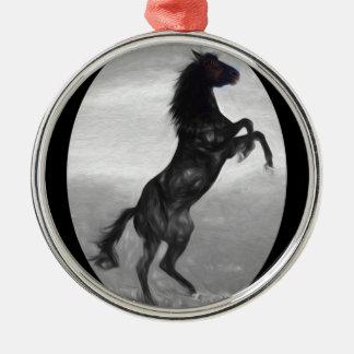 Ornement Rond Argenté Produits multiples de beau cheval noir choisis