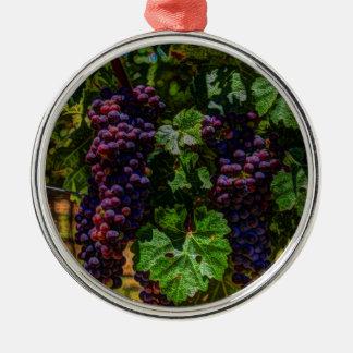 Ornement Rond Argenté Raisins ensoleillés de vignoble de la Toscane de