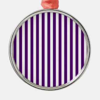 Ornement Rond Argenté Rayures minces - blanches et violette foncée