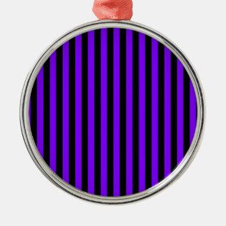 Ornement Rond Argenté Rayures minces - noir et violette