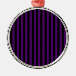 Ornement Rond Argenté Rayures minces - noires et violette foncée