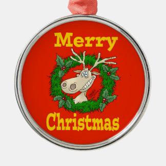 Ornement Rond Argenté Récif de renne de Noël