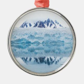 Ornement Rond Argenté Réflexions de glacier, Norvège