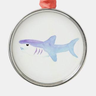 Ornement Rond Argenté Requin adorable