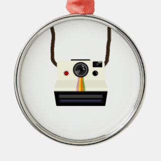 Ornement Rond Argenté rétro appareil-photo avec la courroie