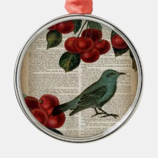 Ornement Rond Argenté rétro cerise rouge botanique d'oiseau français de