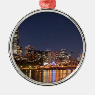 Ornement Rond Argenté Rivière de Melbourne Yarra la nuit