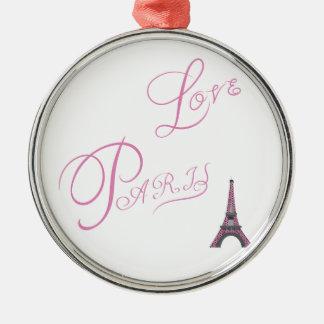 Ornement Rond Argenté Rose-Amour-Paris-Eiffel-Tour-Unique