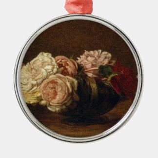 Ornement Rond Argenté Roses dans une cuvette - Henri Fantin-Latour