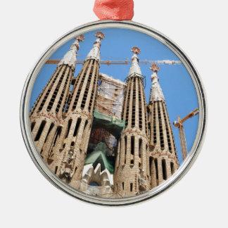 Ornement Rond Argenté Sagrada Familia à Barcelone, Espagne