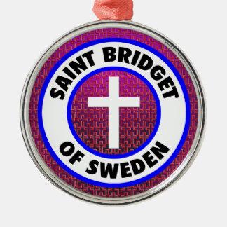 Ornement Rond Argenté Saint Bridget de la Suède
