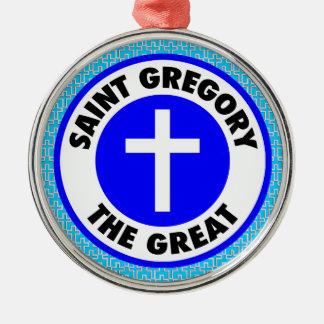 Ornement Rond Argenté Saint Gregory le grand