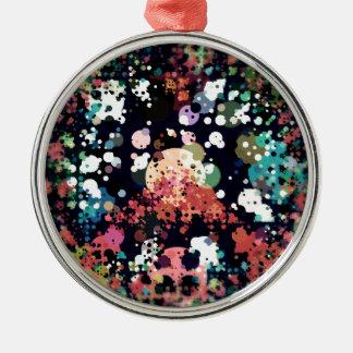 Ornement Rond Argenté Signe de paix coloré de cercles