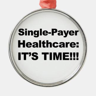 Ornement Rond Argenté Soins de santé simples de débiteur - il est temps